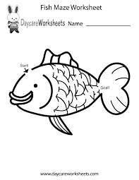 Preschool Worksheet Free Preschool Fish Maze Worksheet