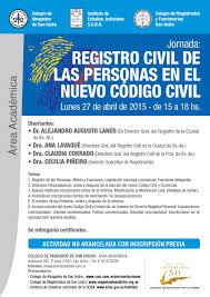 registro civil de las personas en el nuevo código civil colegio