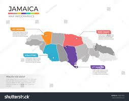 Jamaica Map Jamaica Map Infographics Vector Template Regions Stock Vector