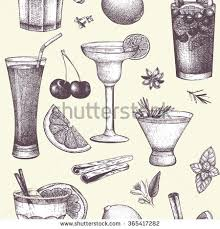 vector design hand drawn drinks illustration stock vector