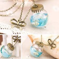 glass bottle necklace pendant images Wholesale wholesale fashion sea ocean glass bottle pendant mermaid jpg