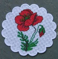 beautiful table cloth design the poppy meadow bowl and doily set advanced embroidery designs