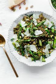 Asparagus Dishes Main Course - roasted asparagus wheat berry salad with arugula pistachio pesto