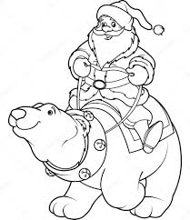 santa claus riding on polar bear coloring page u2014 stock vector
