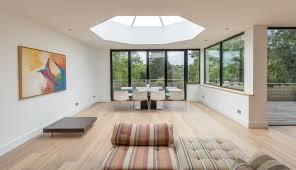 modern open plan seating dining to circular feature octagonal