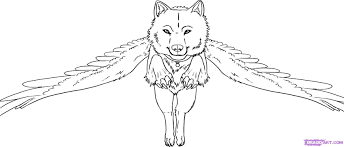 anime wolf with wings coloring pages youtuf com