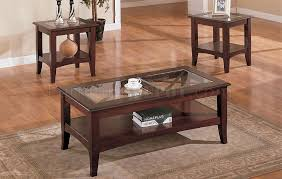 Cherry Coffee Table Cherry Stylish 3pc Coffee Table Set W Glass Tops