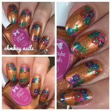 ehmkay nails cupcake polish luau collection hawaiian flower nail art