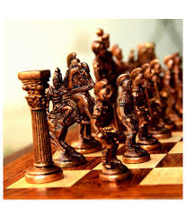 unravel india multicolour roman brass chess set with wooden board