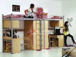 china student dormitory triple bunk bed with desks metal bunk bed