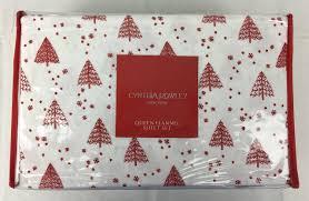 Cynthia Rowley Bedding Queen Cynthia Rowley Cotton Flannel Queen Sheet Set Balsam Snow Red