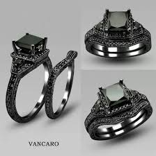black wedding ring set wow never thought that i would want a black engagement ring but