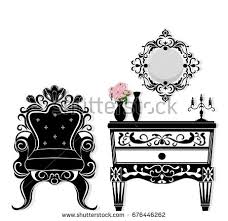 imperial baroque armchair dressing table furniture stock vector
