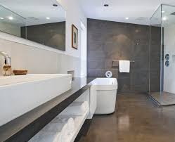 reflector epoxy floor bathroom modern with white towels solid