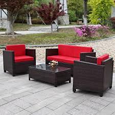 divanetti in vimini da esterno ikayaa 4pcs cuscino vimini ed mobili da giardino esterno divano