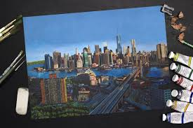 sd painting of the new york skyline realistic time lapse painting you