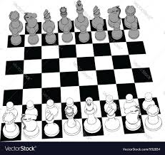 White Chess Set Chess Set Game Pieces Line Drawing 3d Royalty Free Vector