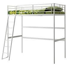 bedroom white metal ikea bunk bed with stairs with green