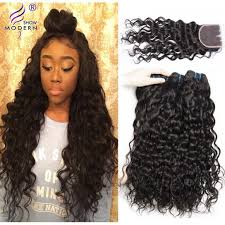 weave on 3pcs water wave hair bundles with lace closure real