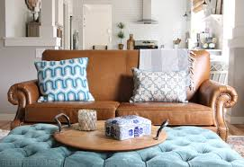 Mixing Leather And Fabric Sofas February House Fluffing Leather Copper U0026 Wood The Inspired Room