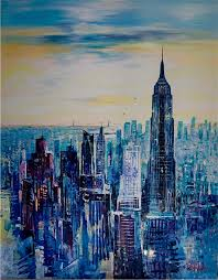 city skyline of new york empire state building acrylic on canvas