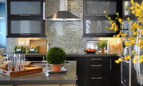 Plastic Kitchen Backsplash Dark Cabinets With Light Countertops Stone Slab Flooring Gray Cut