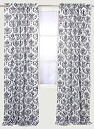 Black And Cream Damask Curtains Amazon Com Venetian Damask Flock Faux Silk Curtain Panel 96 Inch