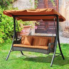 Wooden Swing Set Canopy by Patio Swing Sets With Canopy 2 Person Seater Brown Finish Fabric