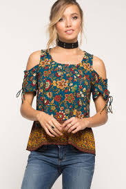 cold shoulder tops women s tops floral knot cold shoulder top a gaci