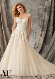 wedding dresses from america beaded embroidery and venice lace decorate the tulle