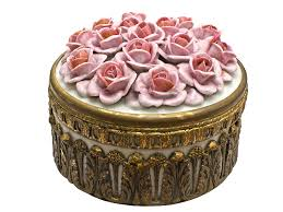 porcelain roses brass box with porcelain roses png isolated objects