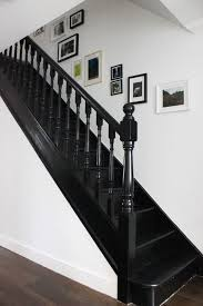 Black Staircase   black painted staircase in litle greene jack black paint