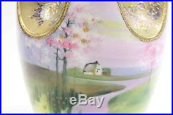 Nippon Hand Painted Vase Pink Hand Painted Gold