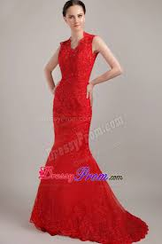 red mermaid v neck brush lace prom dress with back cutout