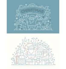 merry christmas and happy new year line design vector image