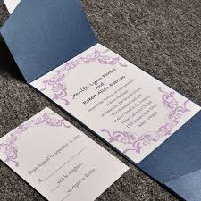 affordable pocket wedding invitations purple damask card and blue pocket affordable wedding