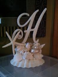 h cake topper monogram cake topper with seashells wedding starfish custom