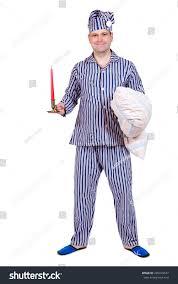 man pajamas sleeping cap carries pillow stock photo 285910547