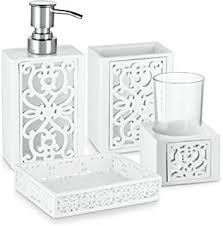amazon com vintage white bathroom accessories 4 piece bathroom