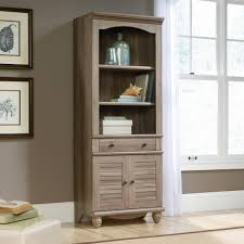 Sauder 4 Shelf Bookcase by Sauder Harbor View Library With Doors Multiple Finishes Walmart Com