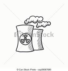 eps vectors of nuclear power plant sketch icon nuclear power