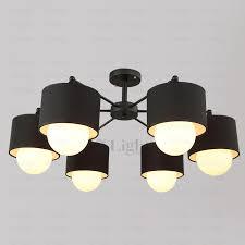Modern 6 Light Fabric Shade Black Ceiling Light Fixtures