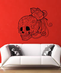 large flower wall decals vinyl flower stickers stickerbrand vinyl wall decal sticker sugar skull and rose 1175