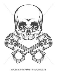 human skull with engine pistons human skull and crossed