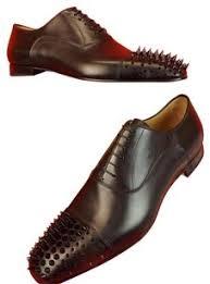 wedding shoes mens christian louboutin black mens gregossic leather spike cap toe