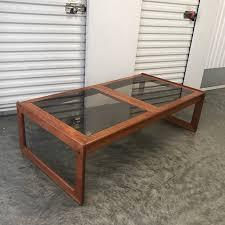coffee table los angeles vintage 70s danish teak smoked glass coffee table in los angeles