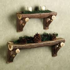 rustic timber log wall shelf wood decorations in natural finished