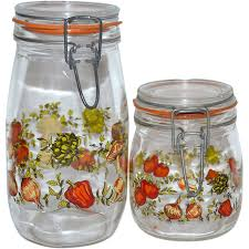 1970s set of 2 glass kitchen canister jars france from