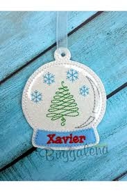 snow globe ornament embroidery design ith