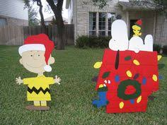 Snoopy Outdoor Christmas Decorations Christmas Yard Art I Want To Make One Of These For Next Year